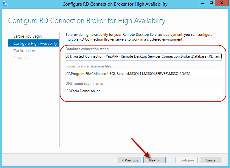 Configuring HA for the Remote Desktop Connection Broker in a