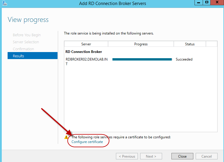 Configuring HA for the Remote Desktop Connection Broker in a 2012